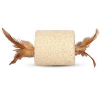 """TRIOL Игрушка для кошек из люфы """"Цилиндр с перьями"""", 60*140мм"""