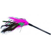 Уют Дразнилка розово-зелено-черные перья, 35 см