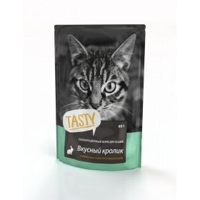 TASTY Консервированный корм для кошек с кроликом в желе, пауч, 85 гр
