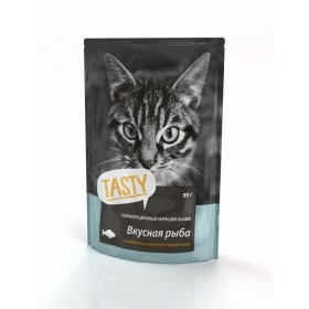 TASTY Консервированный корм для кошек с рыбой в желе, пауч, 85 гр
