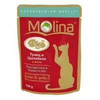 MOLINA пауч для кошек Тунец, Цыпленок в желе, 100 гр