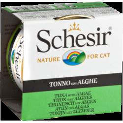 Schesir консервированный корм для кошек с тунцом и морскими водорослями в желе 85гр