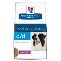 Hills PD D/D корм для взрослых собак всех пород гипоалергенный утка рис