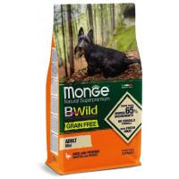 Monge BWild Dog GRAIN FREE Mini беззерновой корм из мяса утки с картофелем для взрослых собак мелких пород