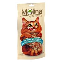 MOLINA Лакомство для кошек Куриный сэндвич с сырными шариками, 80г (1266)