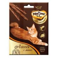 Мнямс Деликатес лакомые палочки 9 см для кошек с лососем и манго 3х4г
