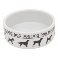 GLG Миска керамическая белая с черным принтом собачек