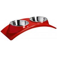 """SuperDesign миска двойная на меламиновой подставке """"Элеганс"""" 2*160 мл. красная"""